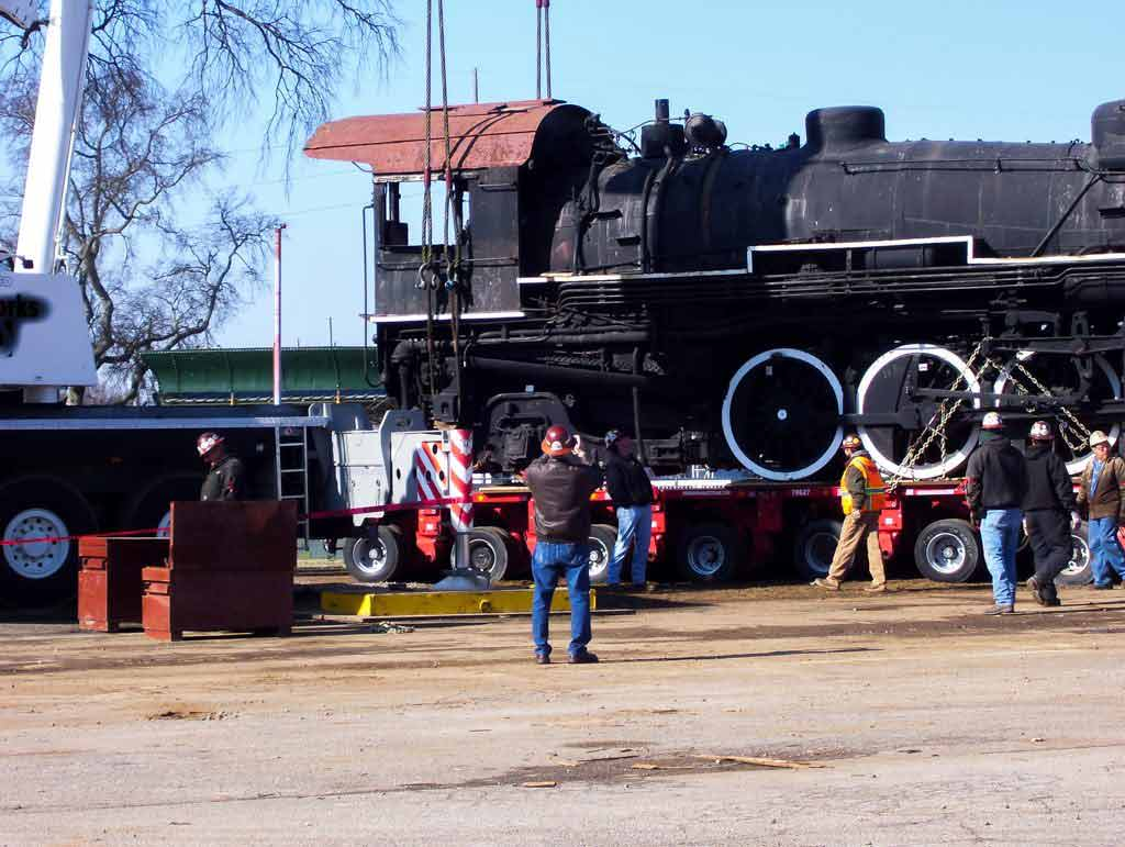 Transporting old train engine